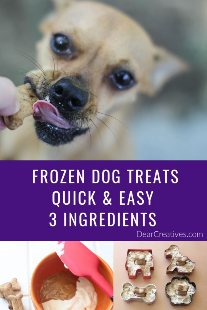 Frozen Dog Treats - This frozen dog treats recipe uses 3 dog-friendly ingredients, is quick and easy! Treat your pampered pooches to an ice cold pupsicle! They will love these dog treats! DearCreatives.com