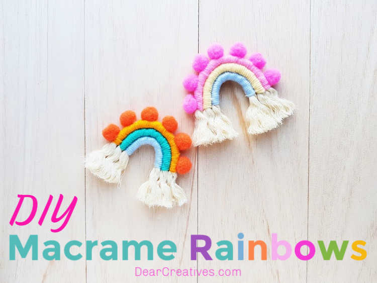 Rope rainbows made from cotton rope and yarn. Grab macrame rainbow instructions at DearCreatives.com
