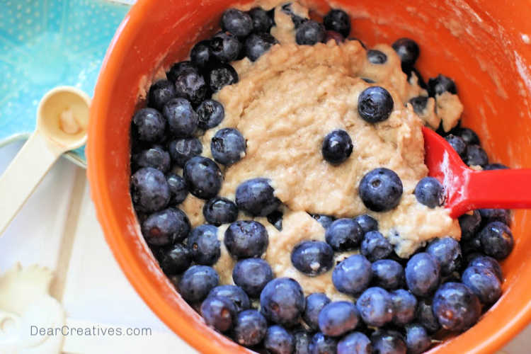 blueberries added to the batter for blueberry bread - © DearCreatives.com