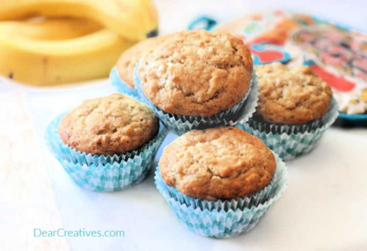 Banana Muffins - Are you ready to make a banana muffins recipe? These are moist, delicious and make 12 regular sized muffins. © DearCreatives.com