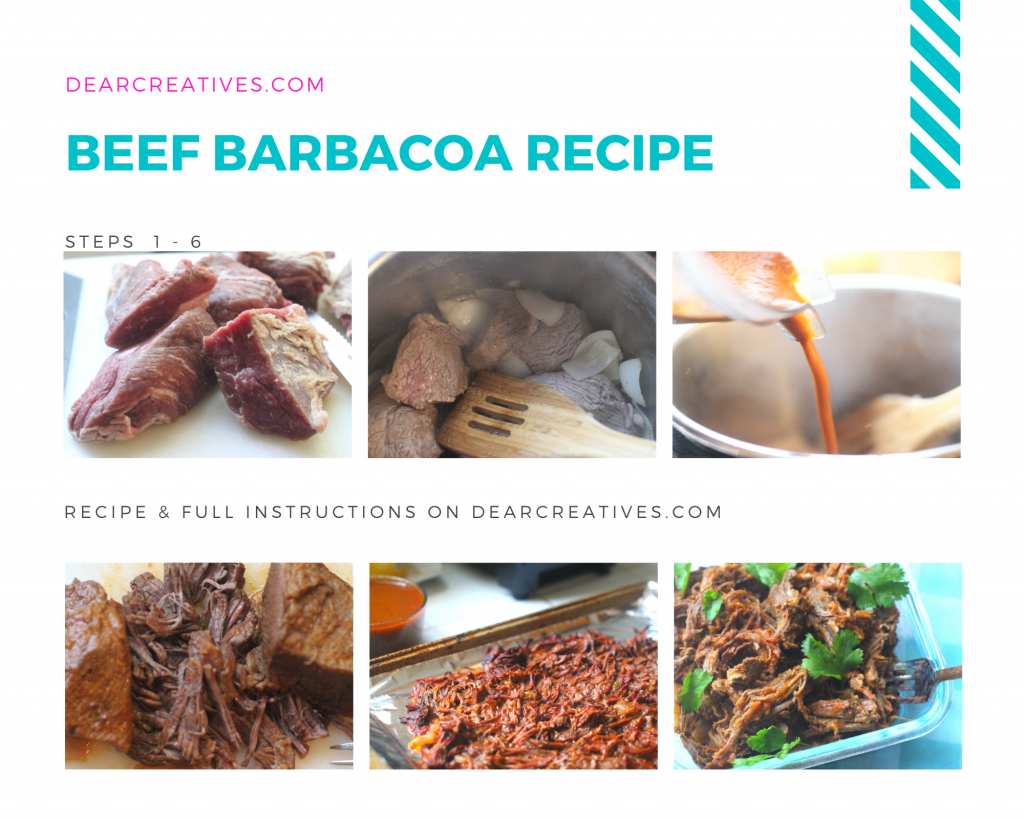 Beef Barbacoa (Instant Pot) Recipe and full instructions with step by step images at- DearCreatives.com