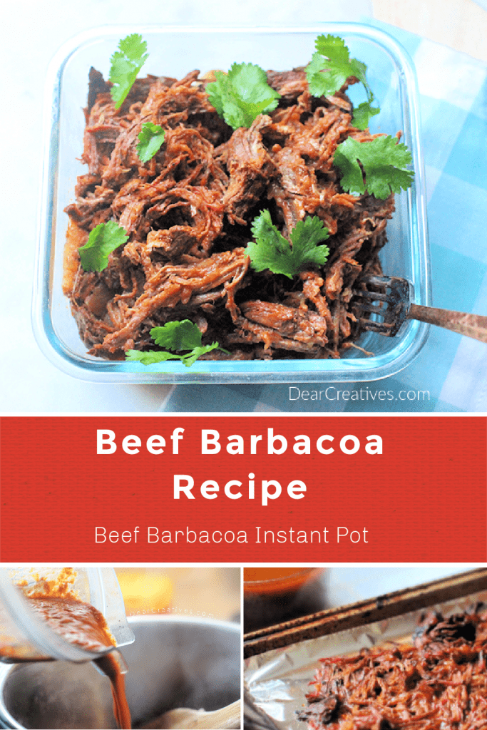 Beef Barbacoa- Make this beef barbacoa recipe in the Instant Pot. It is so delicious and flavorful. The shredded beef is tender and perfect for tacos, burritos, nachos... DearCreatives.com