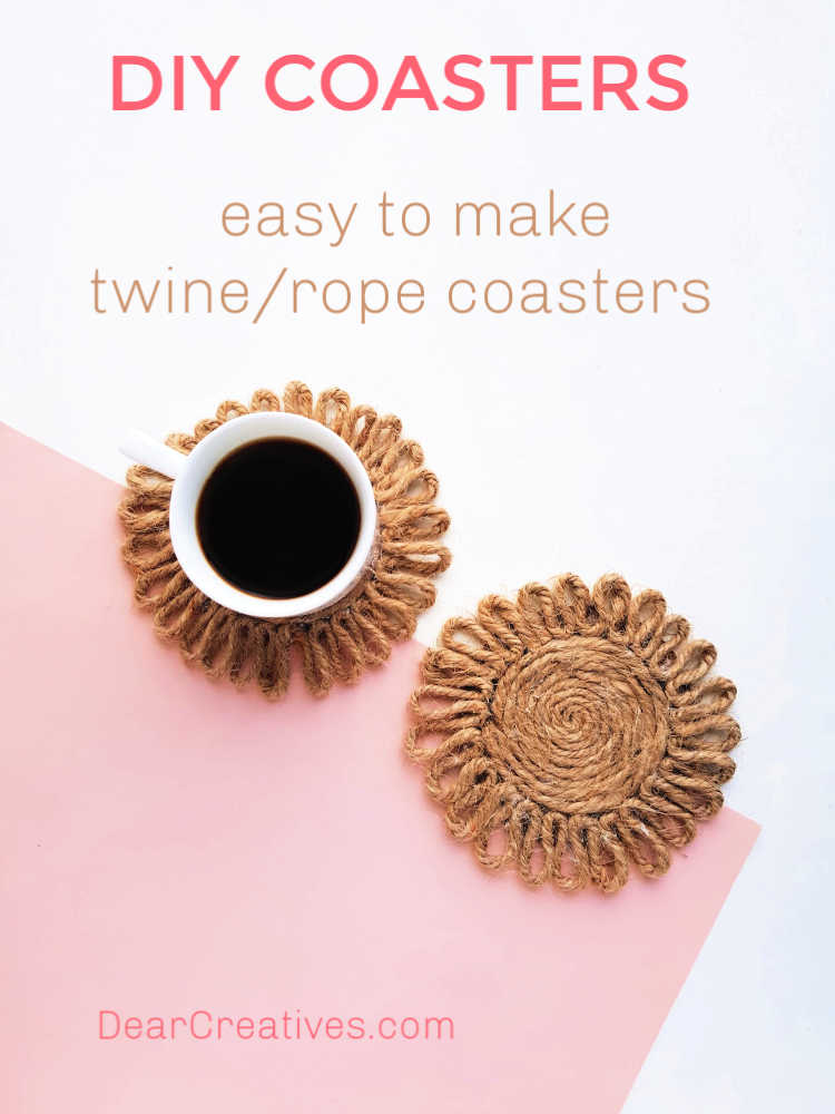 DIY Coasters - Easy To Make - These coasters can be made with twine or rope. Full instructions - DearCreatives.com