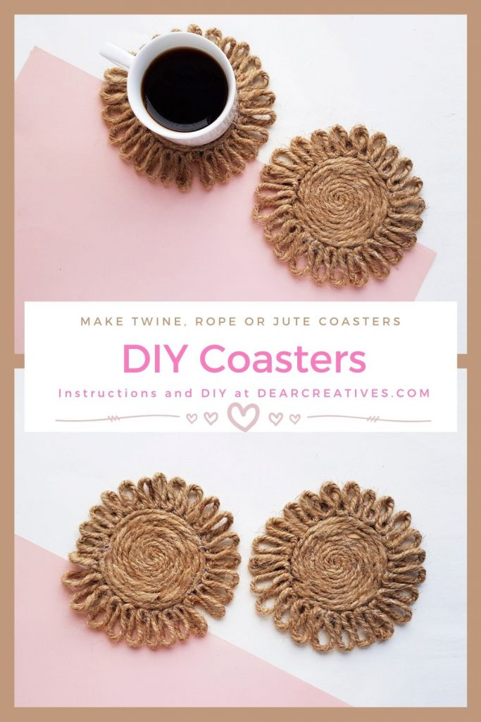 DIY Coasters- Twine, Rope or Jute grab the instructions and make this easy DIY home decor craft - DearCreatives.com