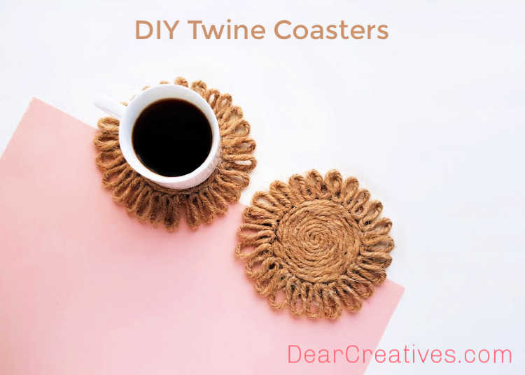 DIY Twine Coasters - Fun, easy, budget-friendly DIY Coasters - Made in the shape of a flower - DIY home decor craft -DearCreatives.com