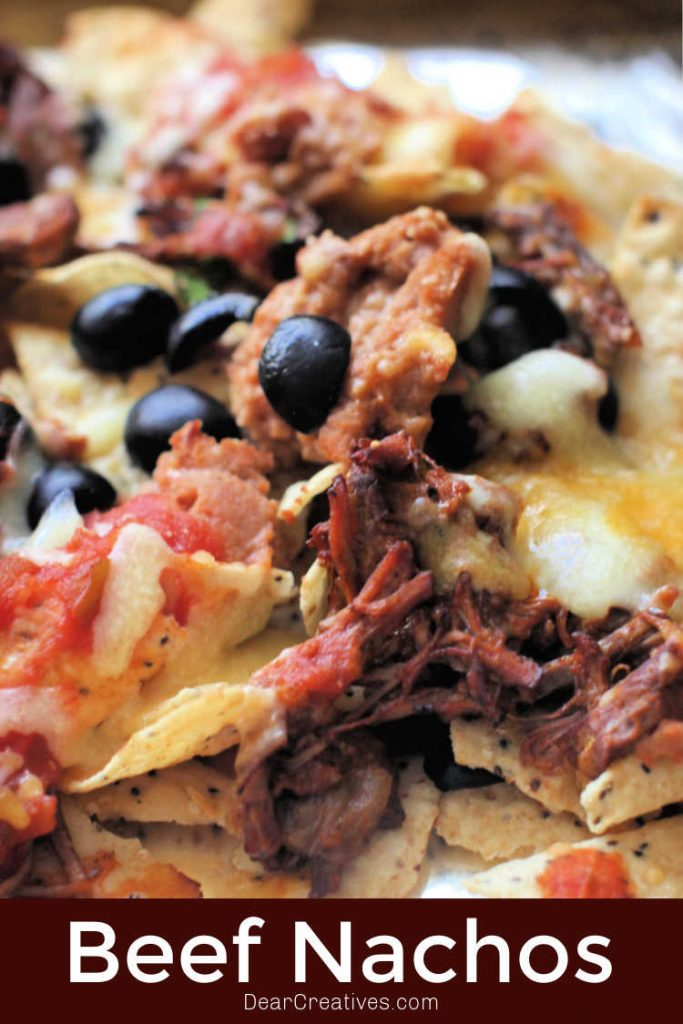 beef nachos - nachos made with cooked shredded beef © DearCreatives.com