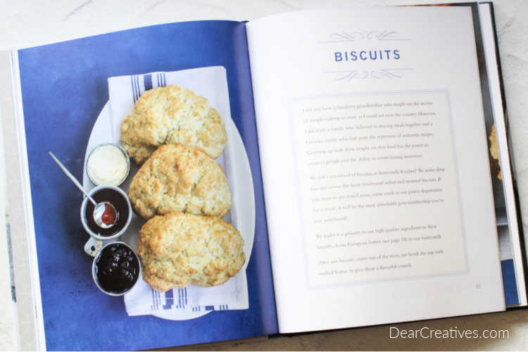 Welcome To Buttermilk Kitchen - open to pages in cookbook section on biscuits - DearCreatives.com cookbook review.