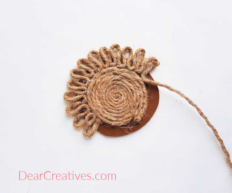 step (5) Continue to create a loop and attached them... full instructions for how to make coasters from rope, twine or jute at DearCreatives.com