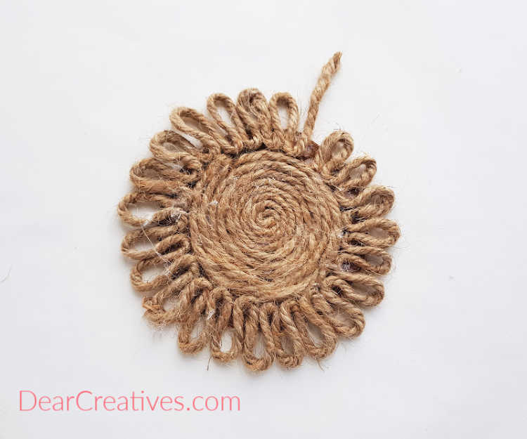 step (6) Once the loop covers the entire border... sunflower rope coaster DIY. DearCreatives.com