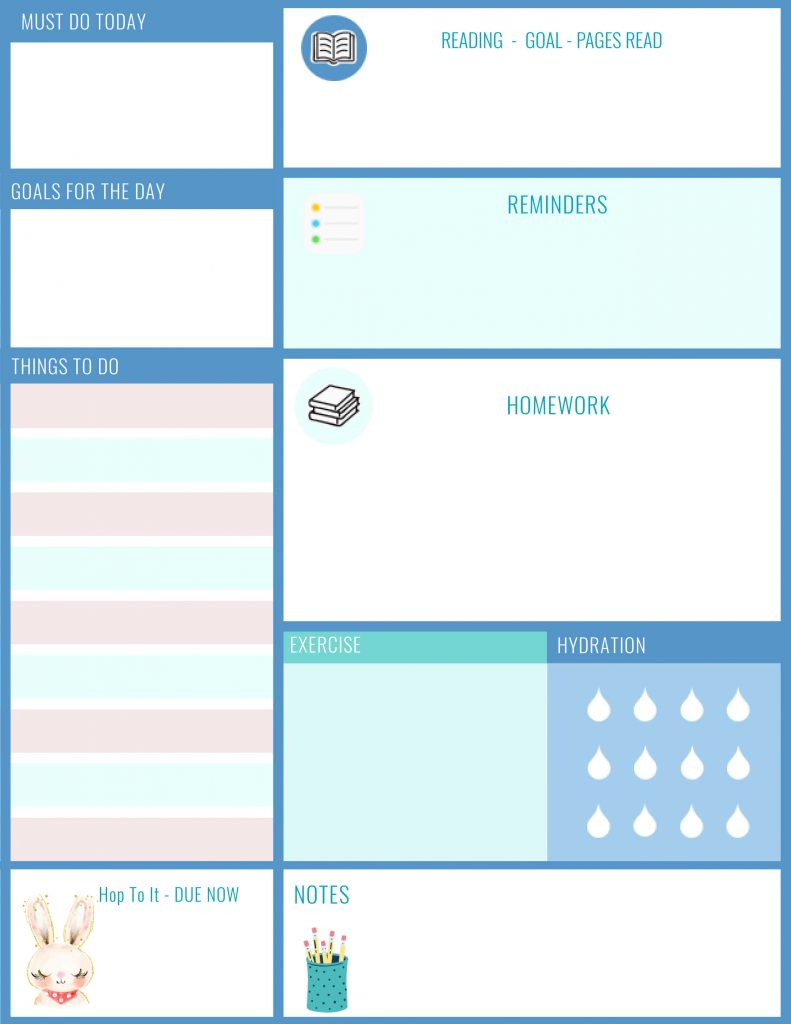 Daily Planner - Daily Planner Printable Sheet -Back To School -Kids, Teens, Parents checklist - Go to post for printable size! This is a sample of the of the printable - to get the quality print size go to DearCreatives.com