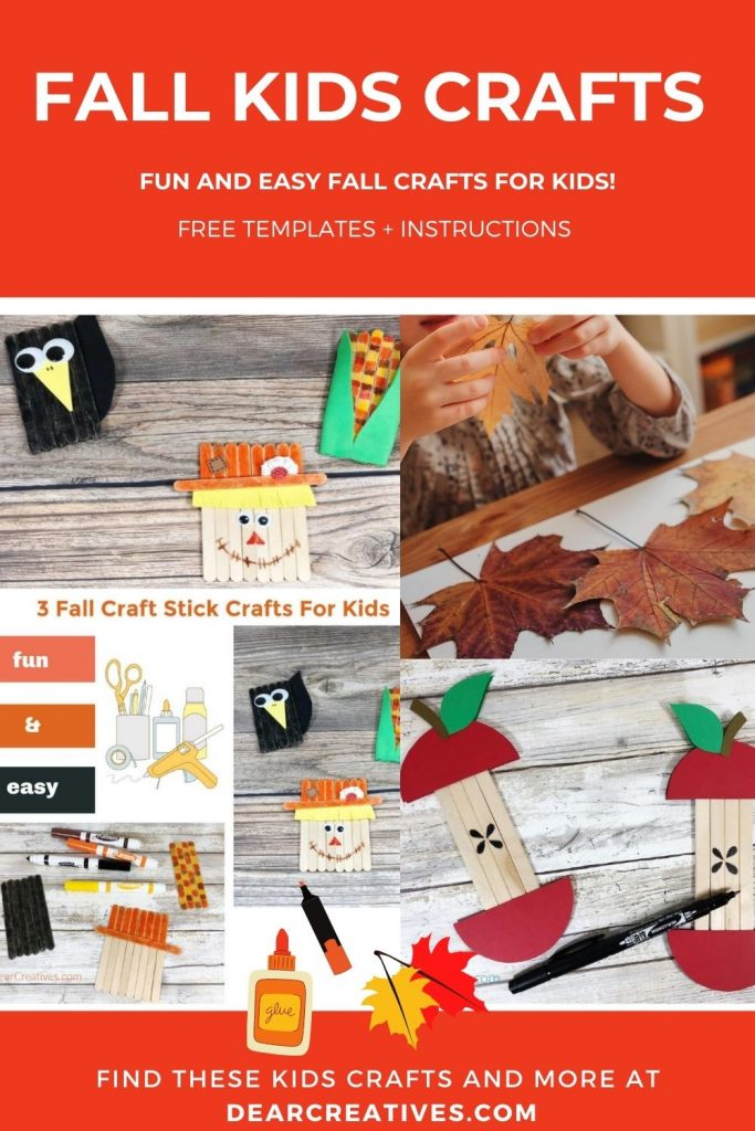 Fall Kids Crafts - Fall is the perfect time to craft with the kids! Grab a few supplies, these free craft ideas, instructions and templates. DearCreatives.com #fallkidscrafts