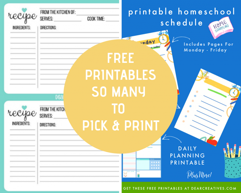 Free Printables for every season! Printable Checklists, To do lists, printables for kids, seasonal printables, holiday printables, checklists, meal planners, recipe cards... DearCreatives.com