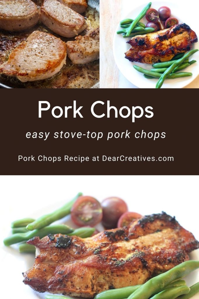 Pork Chops Recipe - Easy Stovetop pork chops will have you able to get your dinner on the table in under 30 minutes! DearCreatives.com