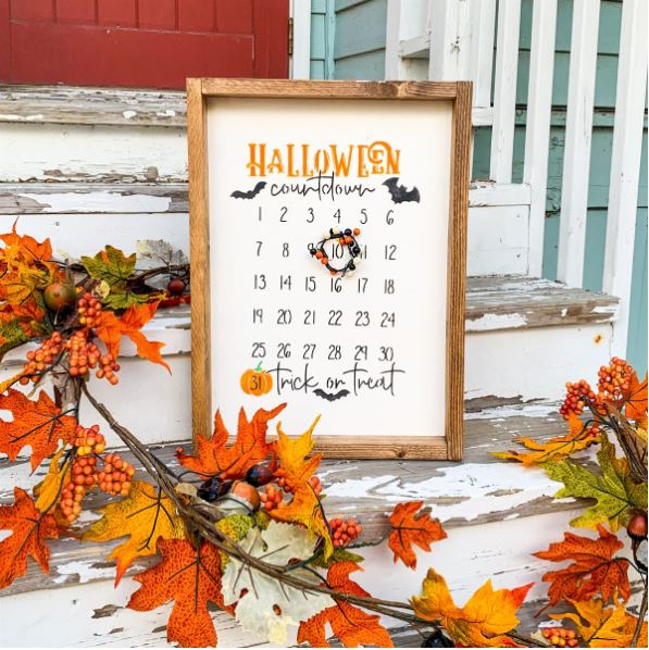 fall decor - farmhouse Halloween countdown sign-Each item is handcrafted and hand-painted. Each will be a little different and have its own special unique qualities. Such a cute Halloween/fall decor idea.