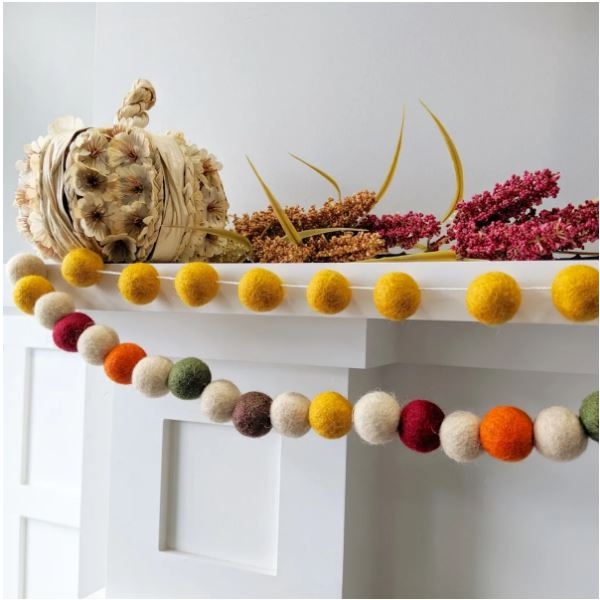 "fall garland 20 Felt balls, each is approx. 1"" (about the size of a quarter). Garland will be tied on each end to easily tack up or tape in a festive location. in 35 styles"