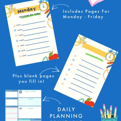 printable homeschool schedule - plus daily planning printable. Use and print these printables for keeping a schedule and staying organized. DearCreatives.com