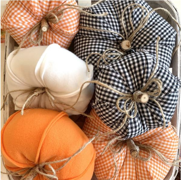 rustic fabric pumpkins in 9 different designs - faux pumpkins made of fabric