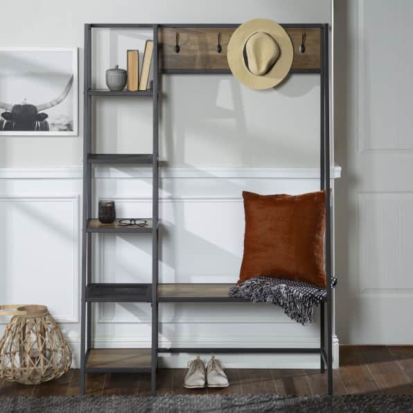 side angle shelf hall tree with storage - hang up your coats, hats and decorate bench seating...