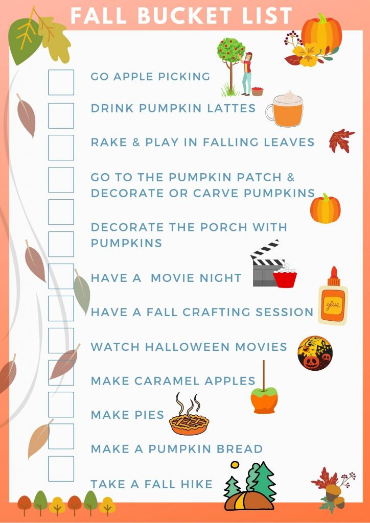 Fall bucket list - list of ideas to do during the fall season - print, use and check-off the items as you do the fall activities. DearCreatives.com