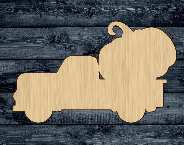Wood truck pumpkin cut out for crafts - paint the cut out wood or decorate the wood cut outs.
