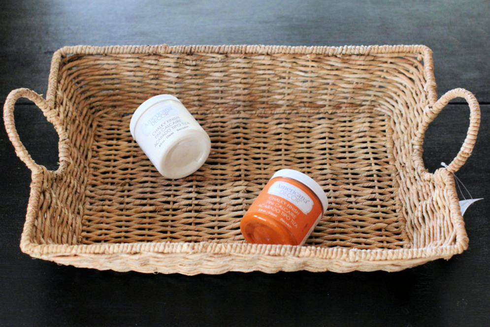 Basket with handles, chalk paint in cream and orange for a DIY home decor project. DearCreatives.com