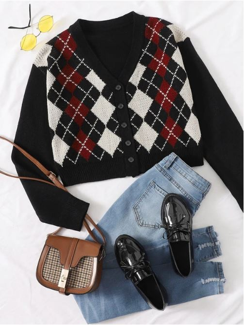 Cute Argyle Sweater and Outfit For Women