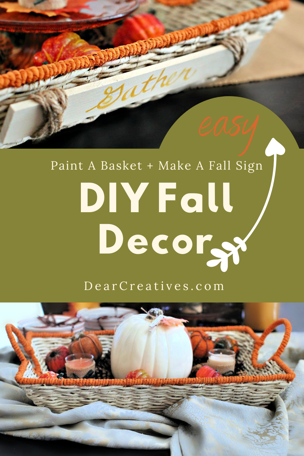 DIY Fall Decor – Paint And Decorate A Basket + DIY Sign