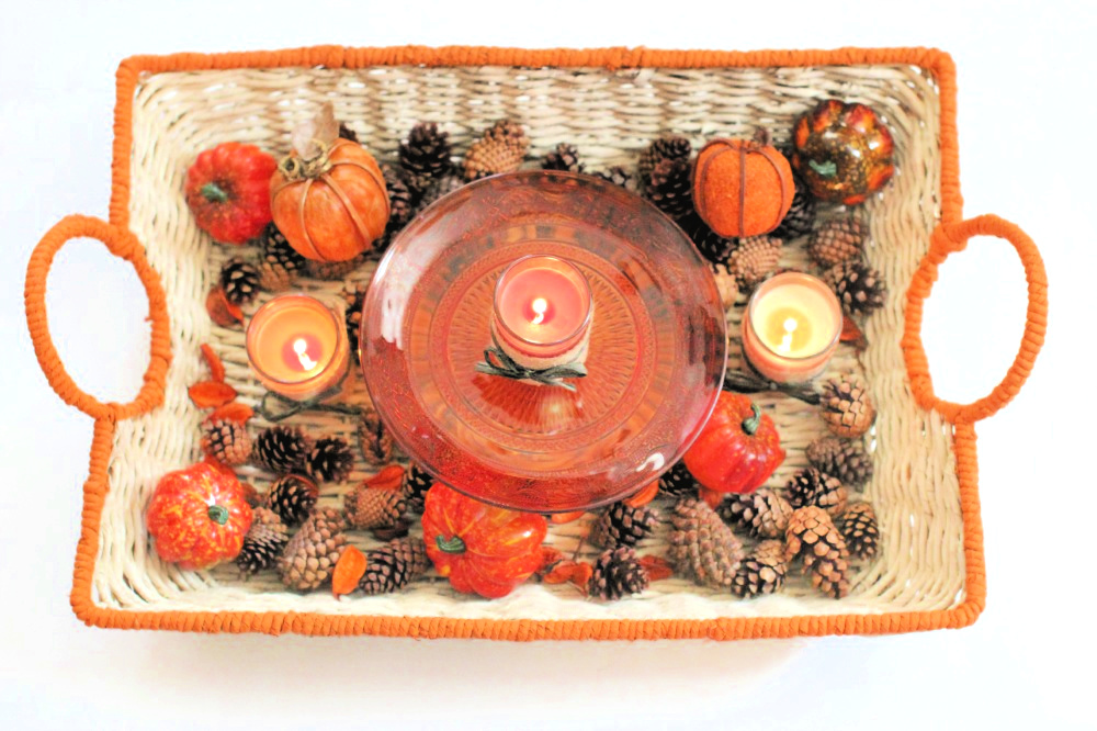 Fall Basket that was painted and has fall decor added - DIY Fall Decor - DearCreatives.com
