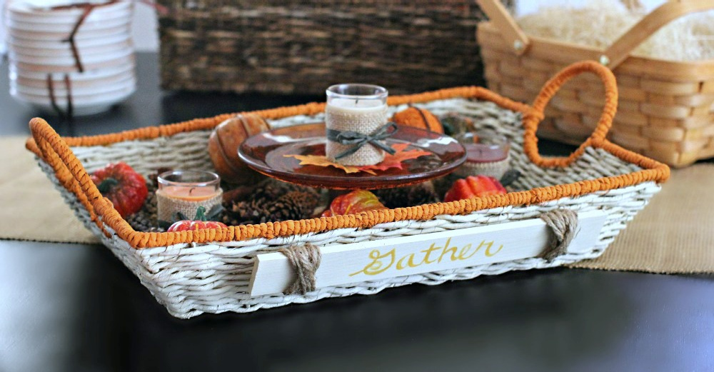 Fall decor - Painted basket with wood sign that says gather, with faux pumpkins, fall candles and other decor accents. DearCreatives.com