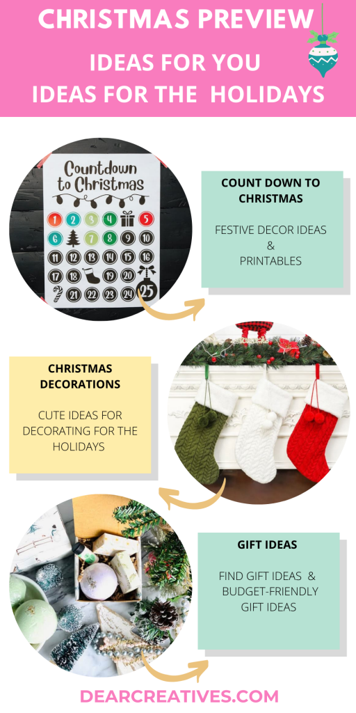 GET A JUMP ON THE HOLIDAY SEASON- Ideas for the holidays - Get a jump on planning and shopping for the holidays. Find festive, fun and useful... home decor ideas, gift ideas, decorations...DearCreatives.com