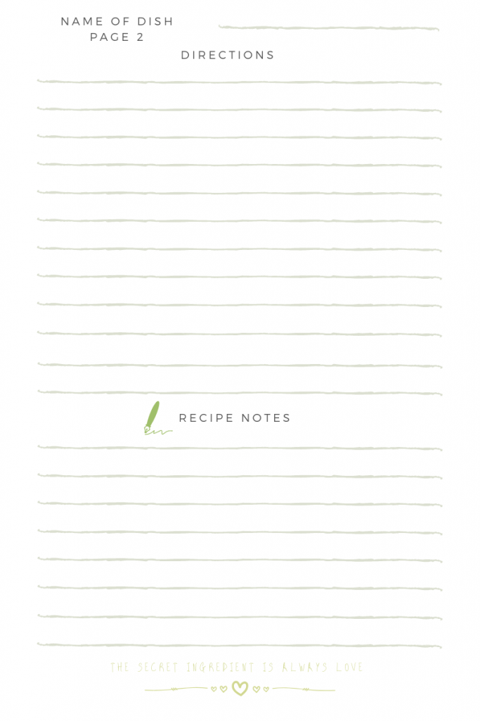 Recipe Card Page 2 of 2 - Recipe Card for Recipe Binders - These recipe cards are also great to use for Recipe Cards for Bridal Showers. Grab the Free Printable Recipe Card -Recipe Card - Recipe Card for Recipe Binders - These are also great to use for Recipe Cards for Bridal Showers. Or to give adult children just getting their first apartment or home your family recipes. Grab the Free Printable Recipe Card at and see more designs at DearCreatives.com