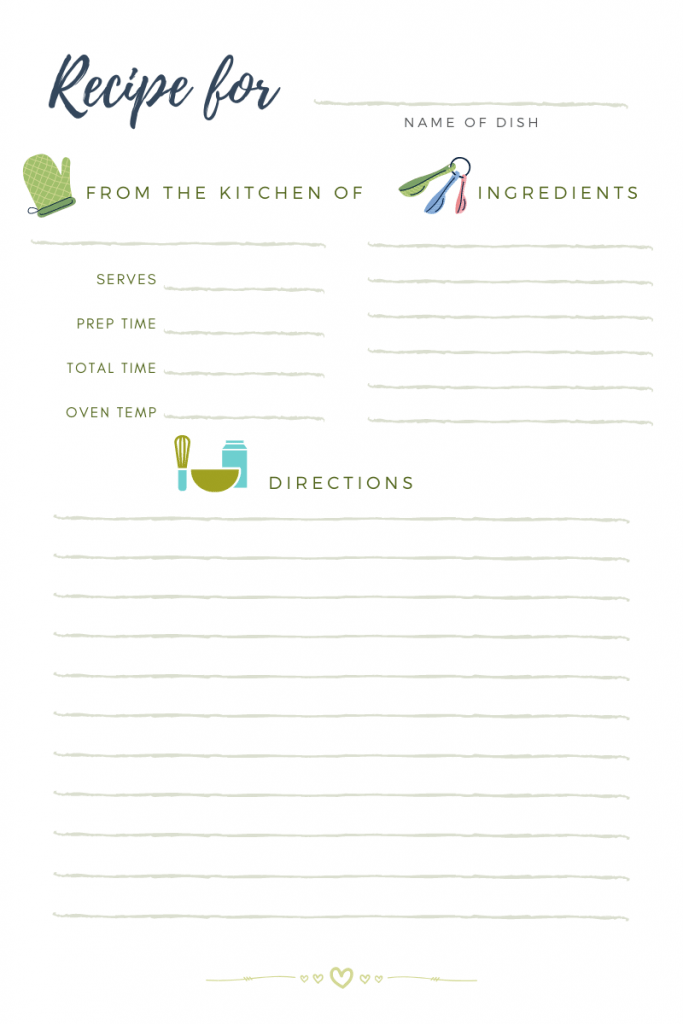 Recipe Card - Recipe Card for Recipe Binders - These are also great to use for Recipe Cards for Bridal Showers. Or to give adult children just getting their first apartment or home your family recipes. Grab the Free Printable Recipe Card - DearCreatives.com