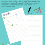 Recipe Cards - Printable Recipe Cards - Perfect for recipe binder books, getting recipes organized and saving your favorite family recipes... DearCreatives.com