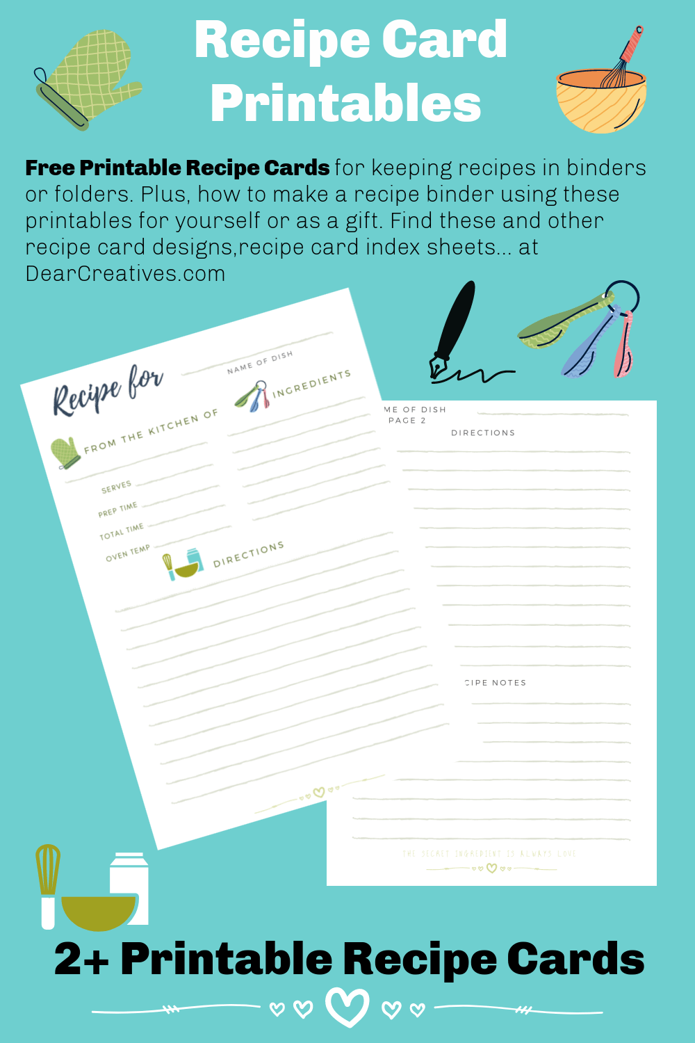 Recipe Cards Printables – Free Recipe Template