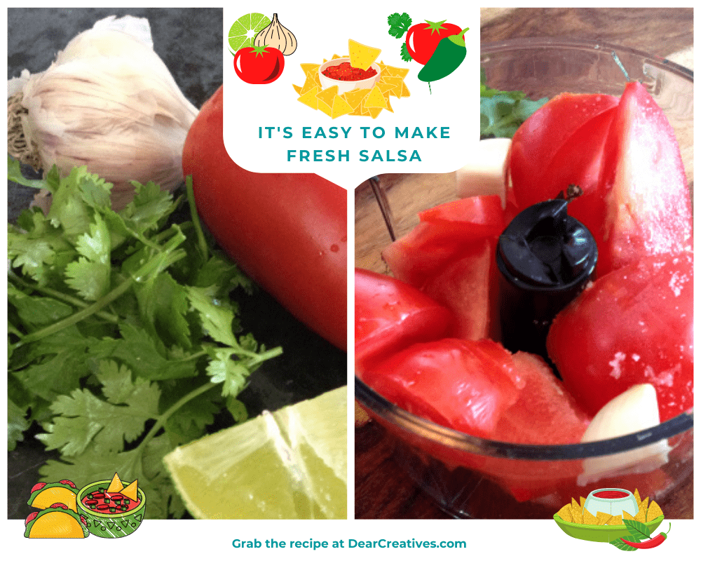 Tomatoes, cilantro, lime and garlic - making salsa - DearCreatives.com