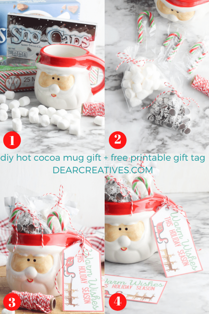 Are you looking for an affordable Christmas gift idea_ Make cute and tasty mug gifts! DIY and free printable gift tag at DearCreatives.com