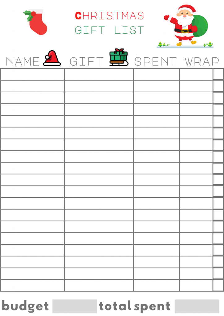 Christmas Shopping List - Christmas shopping list template for tracking gifts you buy. Grab the Christmas Gift Tracking and Expense Tracking List at DearCreatives.com