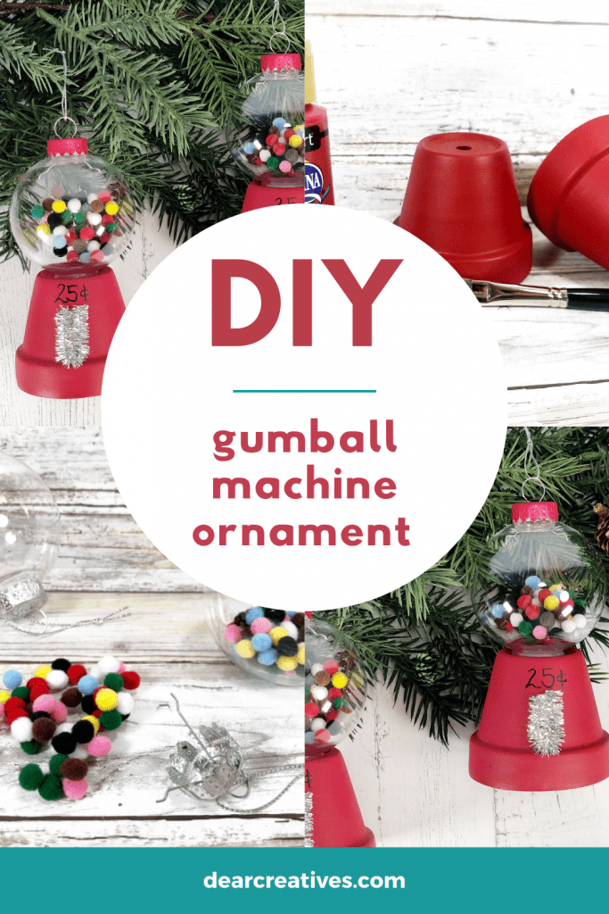 DIY Christmas Ornament - Gumball Machine Ornament - fun and easy ornament craft for adults, teens and kids with help. DearCreatives.com