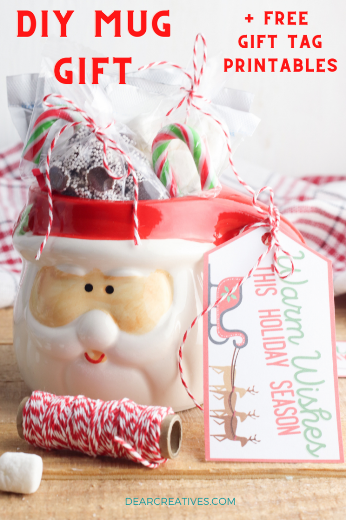 DIY Christmas gift - Make cute and tasty mug gifts! DIY and free printable gift tags. Warm Wishes - DearCreatives.com