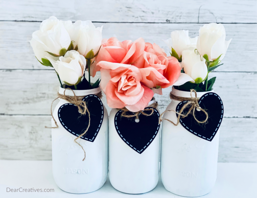 DIY Farmhouse - Mason Jar Craft - styled for Valentine's Day or spring or any season with these tips and how-to... DearCreatives.com