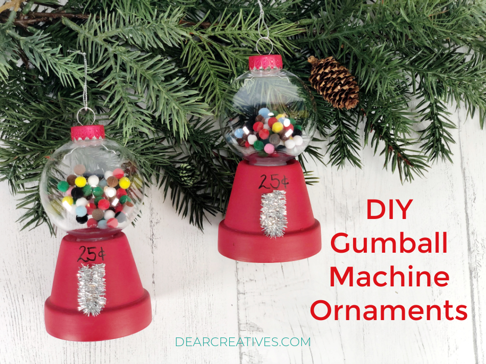 Finished Ornaments -DIY Gumball Machine Ornaments - step by step with images at DearCreatives.com