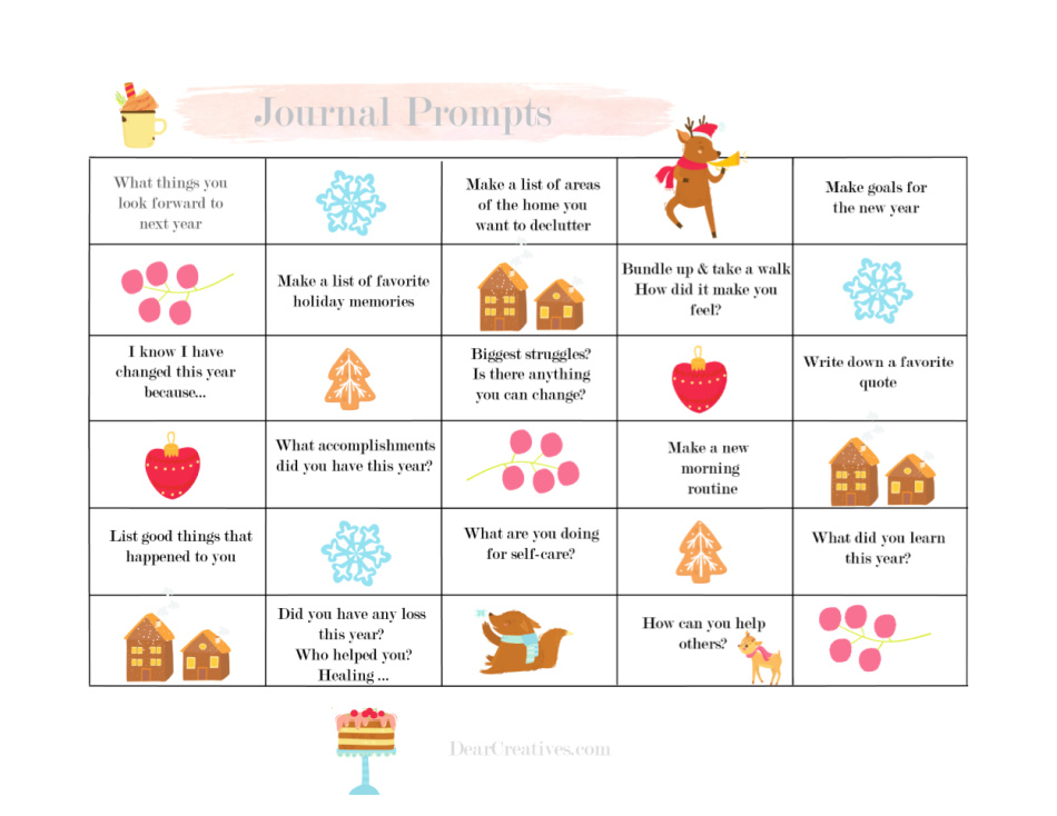 Journal Prompts - Journal Ideas - Printable Journal Page With Prompts - to print get PDF and PNG files at DearCreatives.com