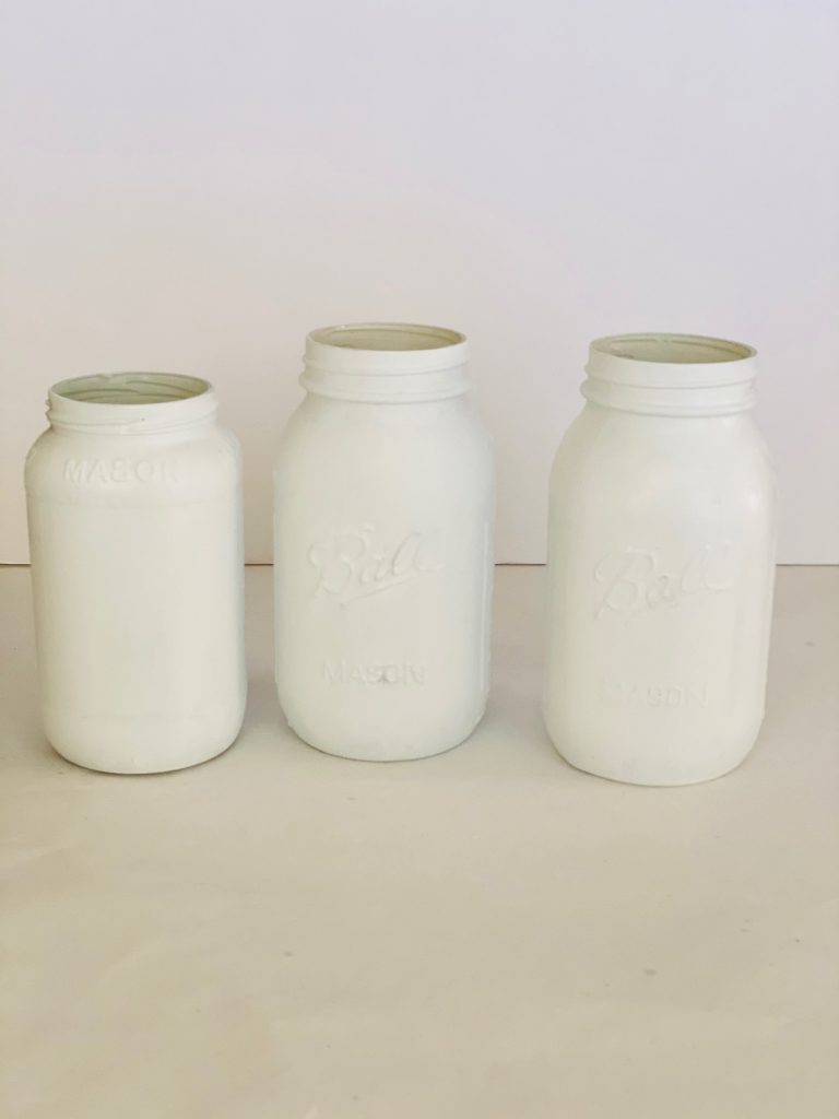 Three painted mason jars - painted with chalk paint - Mason jar craft at DearCreatives.com