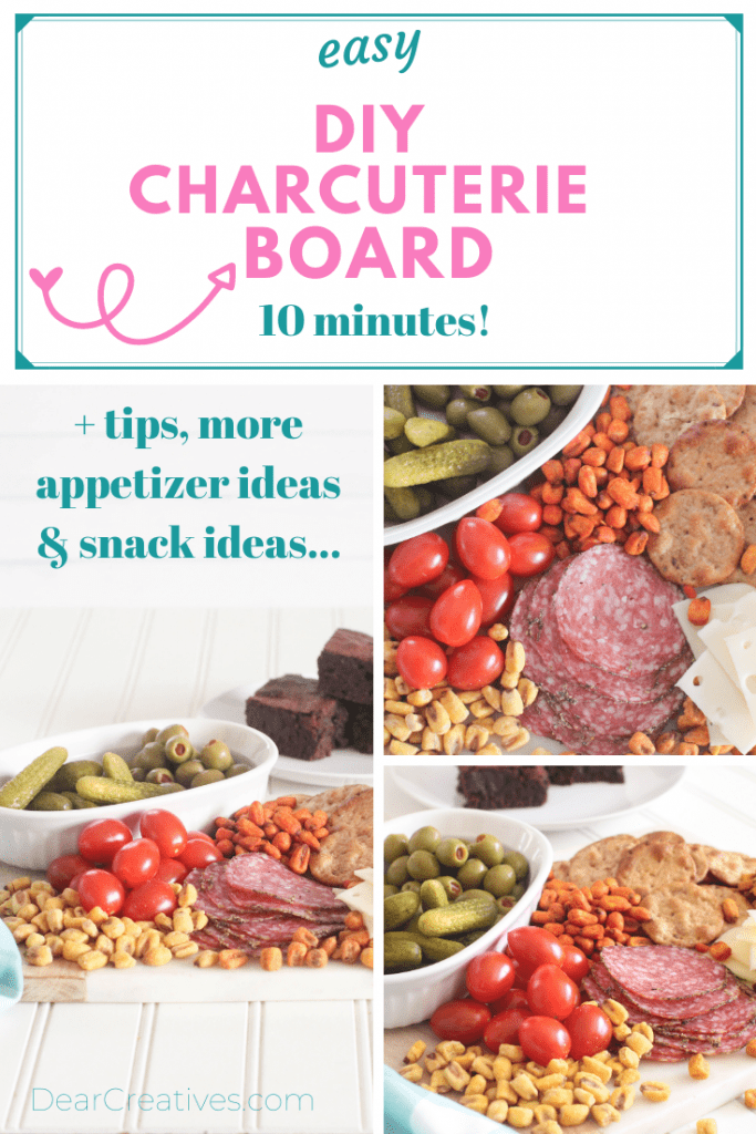 DIY Charcuterie Board - Grab tips, snack ideas and see how easy it is to make this food snacking board. DearCreatives.com