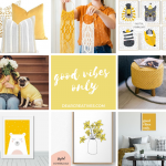 Decorating With Yellow and Gray - prints, macramé, throw pillows, twinning dog human outfits...Brighten your day, decorate your home and uplift your spirits. DearCreatives.com