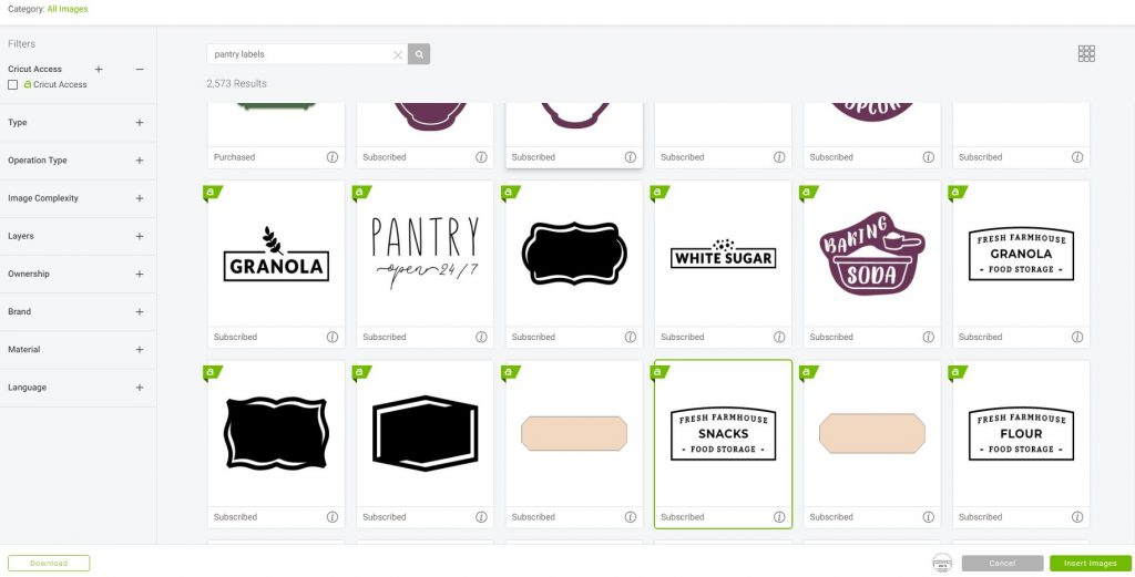 Pantry Labels in Cricut Design Space