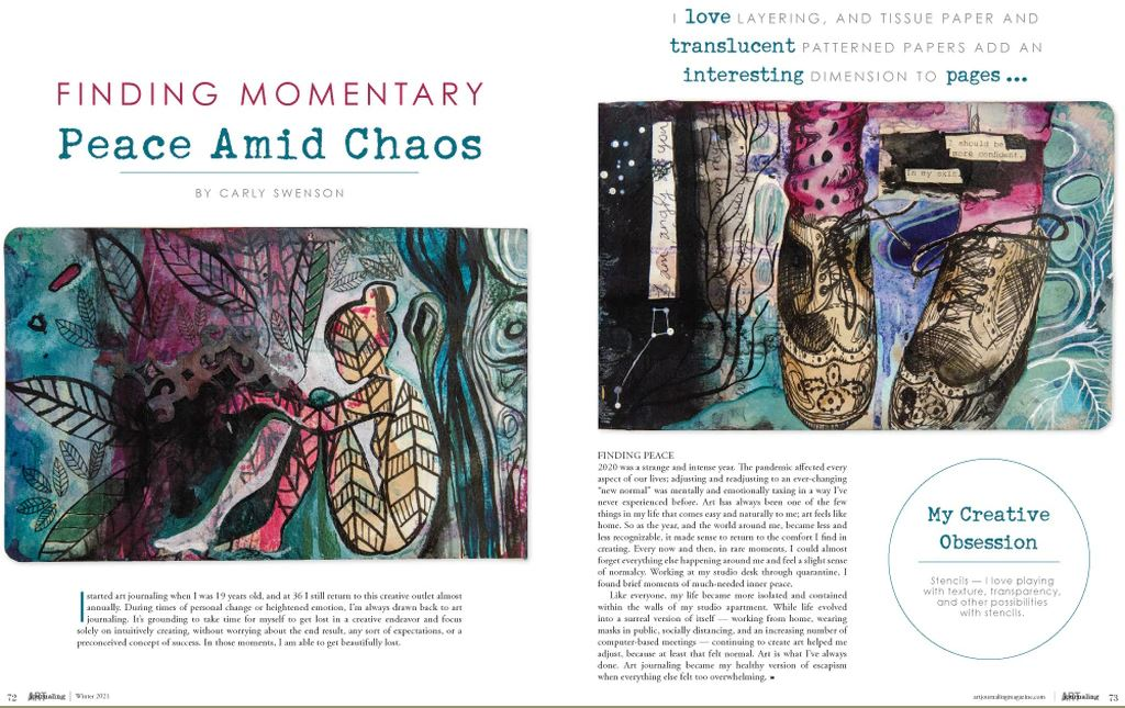 Peek inside the winter issue of the art journaling magazine to see all the journaling ideas and inspiration...