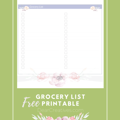 Printable Grocery List Template - Printable Grocery List - Print this grocery list cut to use when making your shopping list for groceries! DearCreatives.com