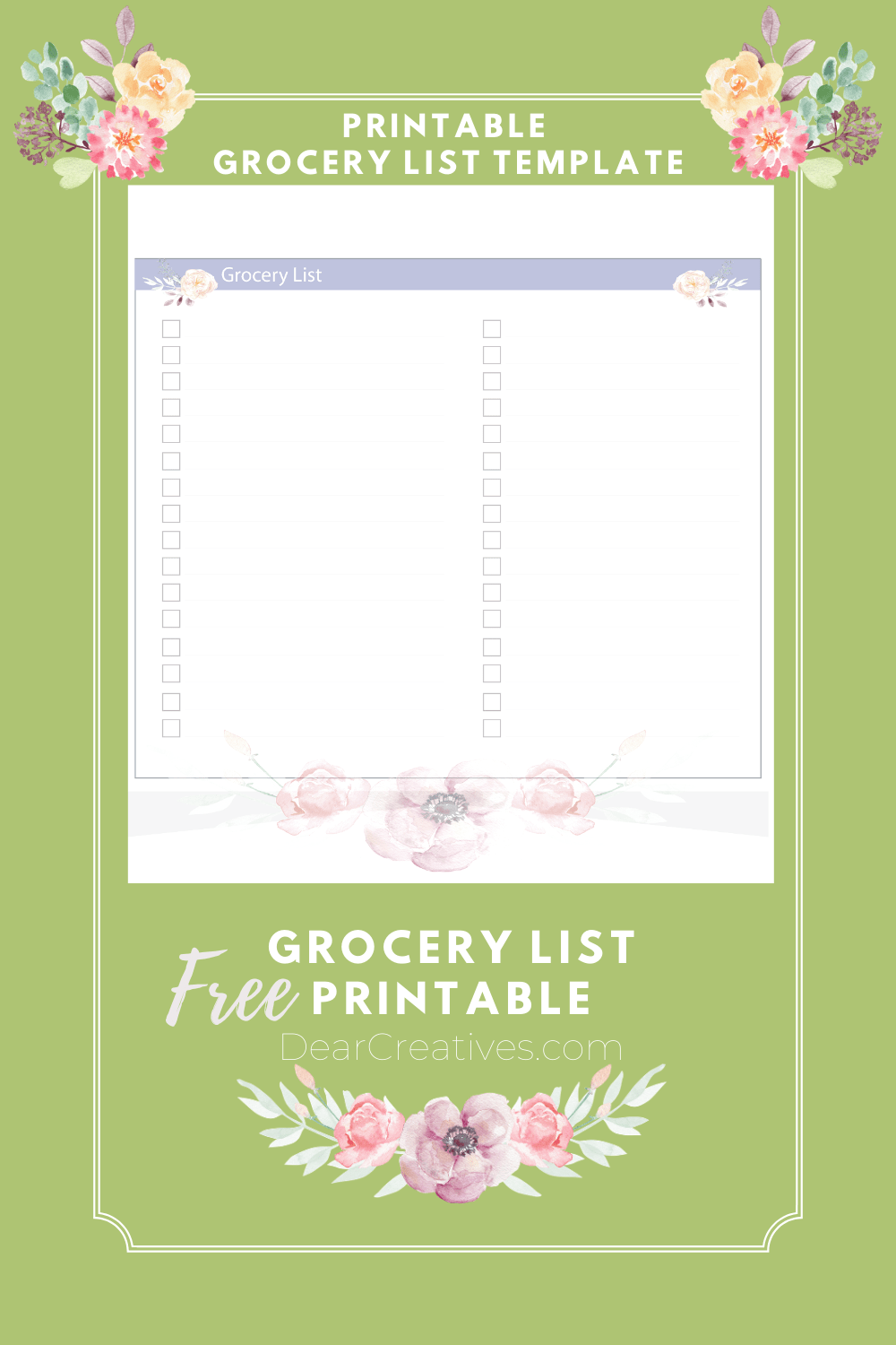 Printable Grocery List – Printable Grocery List Template
