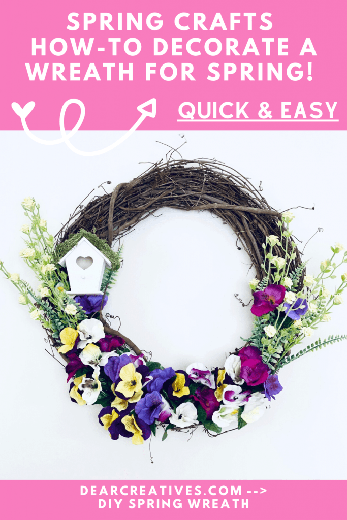 Spring Wreath - DIY Spring Grapevine Wreath - See how-to decorate a spring wreath. Quick, easy and fun! At DearCreatives.com